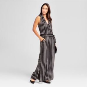 Black and White Striped Wrap Jumpsuit